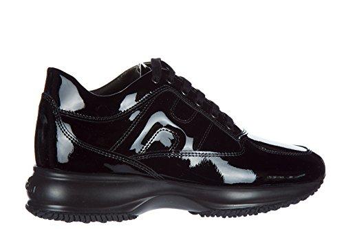 Hogan scarpe sneakers donna in pelle vernice interactive nero Cod:HXW00N00010OW0