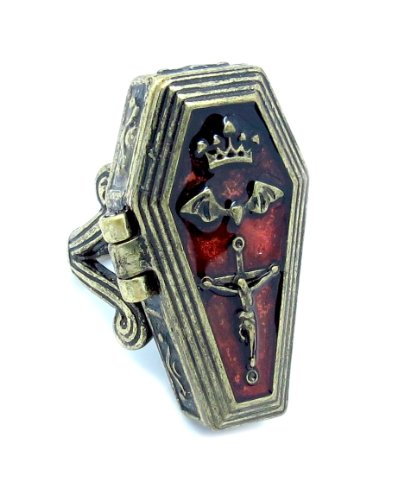 Eve's Couture Vampire Vintage Silver Goth Coffin Ring Locket Vampire Bat Crown Cross Pendants Eternal Life Blood Red Royal Vampire Bat Gothic Crucifix Coffin Casket Locket Poison - Heavy Duty Locket Pendant in Pewter with Vintage Antique Patina and Enamel with Strong Magnetic Locket Clasp Ring