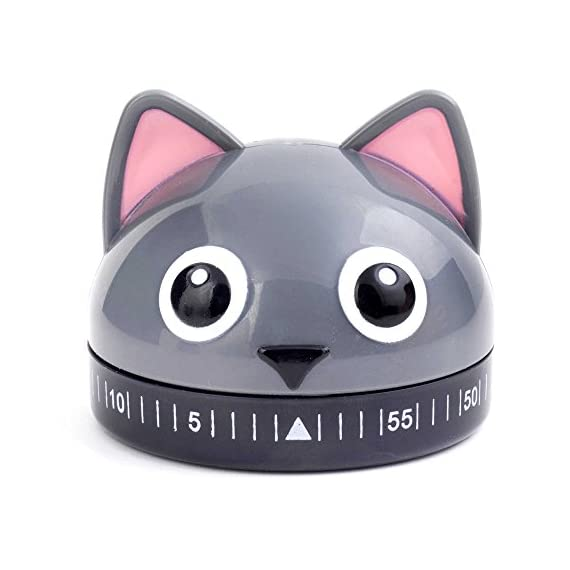 Kikkerland Cat Kitchen Timer in Grey 1