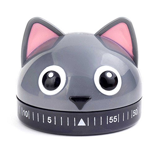 Kikkerland Cat Kitchen Timer in Grey
