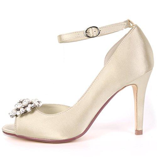 Toe Bombas De Boda Peep Noche Hebilla Heel Rhinestones Las yc Zapatos Champagne L Mujeres Nupcial Rebordear 9cm Satén UqzHB