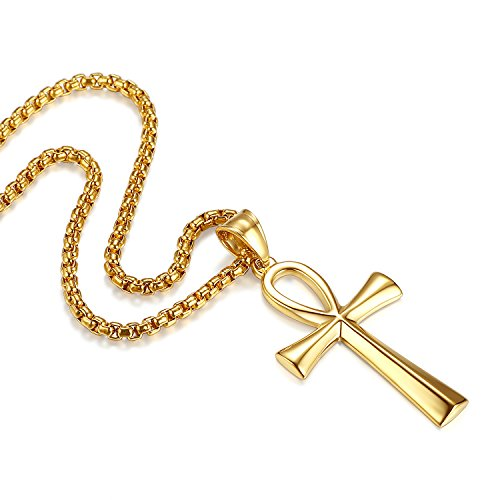 Reve Stainless Steel Coptic Ankh Cross Religious Pendant Necklace for Men Women, 20-24'' Chain (Gold Tone: 24'' Rolo Chain)