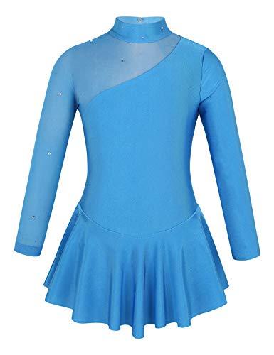 (moily Little Big Girls Mock Neck Mesh Splice Figure Ice Skating Dress Gymnastics Skirted Leotard Blue 8)