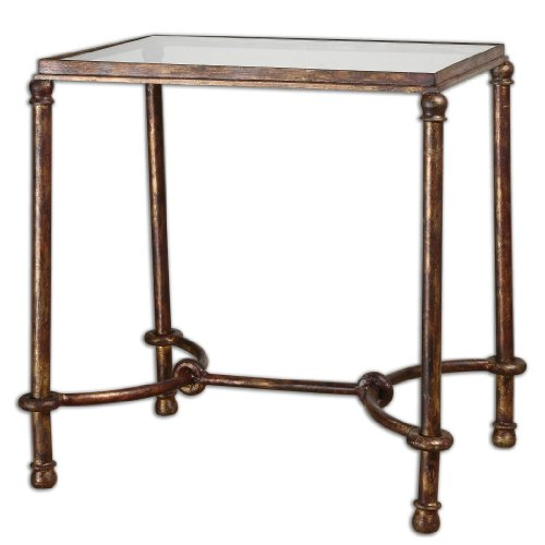 Transitional Rustic Bronze Iron & Glass End Accent Table