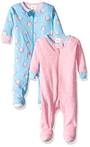 Gerber Baby Girls 2-Pack Footed Unionsuit, Rainbow, 18 Months