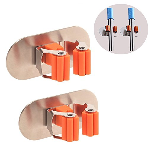 Price comparison product image Broom Mop Holder,  3M Self Adhesive Wall Mount Mop Hook Broom Hanger Home Organizer & Tool Storage Rack With Spring Clip for Bathroom and Kitchen (Oval-2 Pack)