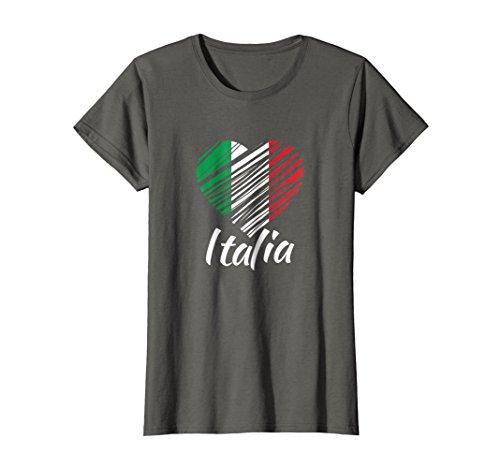 Womens Proud Italian - Italia T-Shirt - Italian Heart - Love Italy XL Asphalt - Italy Heart