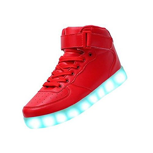 QUAN ZHIHONG Women&Men High Top USB Charging LED Shoes Flashing Sneaker Red iHkQldqf
