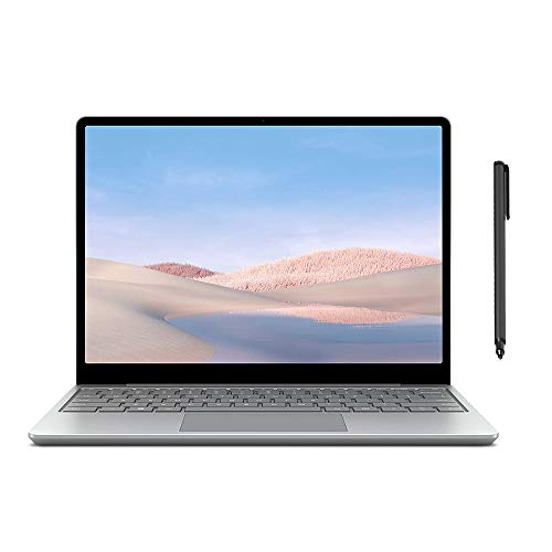 "Microsoft Surface Laptop Go 12.4"" Touchscreen Laptop PC, Intel Quad-Core i5-1035G1, 4GB RAM, 64GB eMMC, Webcam, Win 10, Bluetooth, Online Class Ready, w/Mytrix Digital Pen - Platinum"