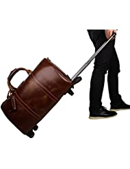 Huntvp Leather Travel Duffel Bag Brown Weekend Wheeled Carry ON Luggage Bags