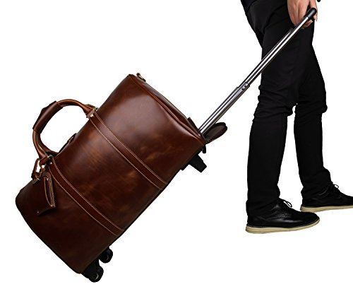 Mens Leather Travel Duffel Bag Brown Weekend Wheeled Carry ON Luggage - Rolling Luggage Leather Wheeled