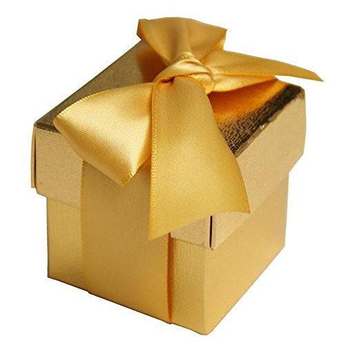 BalsaCircle 100 2 pieces Wedding Party Cute Favors Gift Boxes with Lids - Gold (Gold Gift Boxes)
