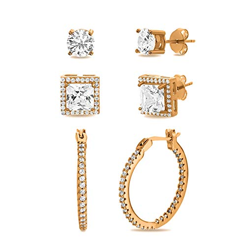 MIA SARINE Round Cubic Zirconia Four Prong Stud, Halo Stud and Huggie Hoop Earring Set for Women in Rose Gold Plated Sterling Silver (Square Pink)