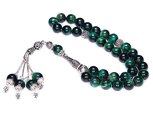 Islamic Prayer Beads made of 10 mm Green Tiger Eye Gemstone and Sterling Silver by PrayerBeads