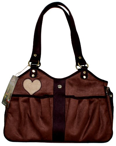 Suede Dog Carrier (Pet Flys Bon Ami Baby Doe Tote-Coffe Suede with Chocolate Brown trim & Baby Doe applique)
