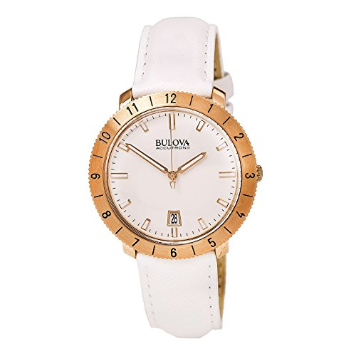 (Bulova Accutron II Moonview White Leather and Dial Watch)