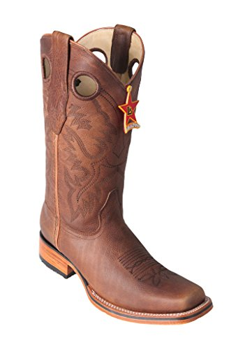 Picture of Men's Wide Square Grisley Honey Genuine Leather Cowhide Skin Rodeo Boots With Leather Sole - Western Boots