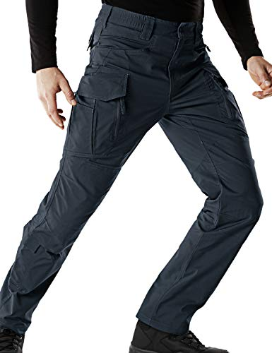CQR Men's Flex Stretch Tactical Work Outdoor Operator Rip-Stop Trouser Pants EDC, Flexy Cargo Zip(tfp521) - Navy, 34W/30L