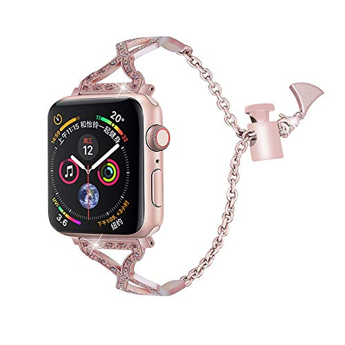 - NXDA Sector Stainless Steel Replacement Crystal Diamond Rhinestone Link Cuff Bracelet Unique Fancy Style with Pendant and Tassel Bangle Wristband For iWatch Series 4 40mm/44mm (44mm, Rose Gold)