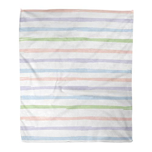 Emvency Throw Blanket Warm Cozy Print Flannel Striped Pattern Handdrawn Ink Brush Stroke Pink Blue Green and Violet Stripes Comfortable Soft for Bed Sofa and Couch 60x80 -