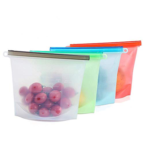 Reusable Food Storage Bags, 4 Reusable Silicone Food Storage Bags, Solid Liquid Preservation, Use in Freezer, Dishwasher,Microwave, Eco, Easy Clean & Economic, Perfect for Taking Out (30 OZ/1000ML)