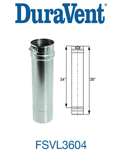 M&G Duravent FSLV3604 Vent Pipe Stainless Steel Cat Iii 4 In. X 36 In.