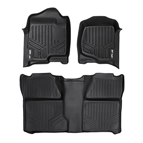 SMARTLINER Floor Mats 2 Row Liner Set Black for 2007-2013 Silverado/Sierra 1500 Crew Cab - 2007-2014 2500/3500 HD Crew Cab