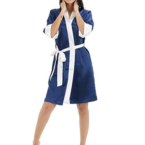 bianca Accappatoio Hibote Gown Deep Kimono Blu Bath calda Sleepwear Vendita Nuove Donna Silk unita tinta Faux Robe Tnra1vqT