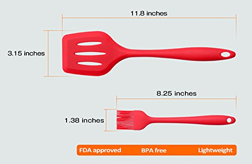 Set of 10 Pieces Silicone Kitchen Cooking Utensils With Hygienic Solid Coating,Heat Resistant Baking Spoonula,Brush,Whisk,Large and Small Spatula,Ladle,Slotted Turner and Spoon,Tongs,Pasta Fork Red 3 COMPLETE COOKING UTENSILS SET COVERS ALL KITCHEN NEEDS-Spoonula,brush,whisk,large and small spatula,ladle,slotted turner and spoon,tongs,pasta fork,perfect for all types of foods and cooking HIGH HEAT 450°F SILICONE-Safe for coated & non-stick cookware,they simply won't discolor,warp,melt or chip like your old plastic kitchen utensils or bamboo kitchen utensils. EASE OF USE:Ergonomically designed handles and the perfectly shaped heads,hanging loops on each end for easy storage.