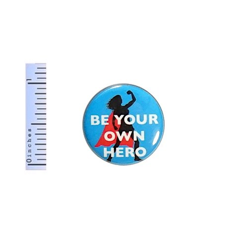 Superhero Button Heroine Feminist Women's Rights Girl Power Rad Gift Positive 1