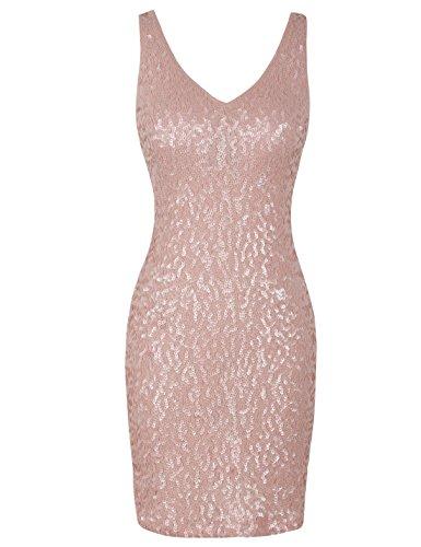 PrettyGuide Femmes Deep V Neck Paillette Briller Stretchy Bodycon Robe Club Rose Mat