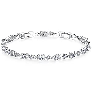 Bamoer Luxury Rose White Gold Bracelet Sparkling Clear Cubic Zirconia CZ Crystal Women Girls Charm Bangle