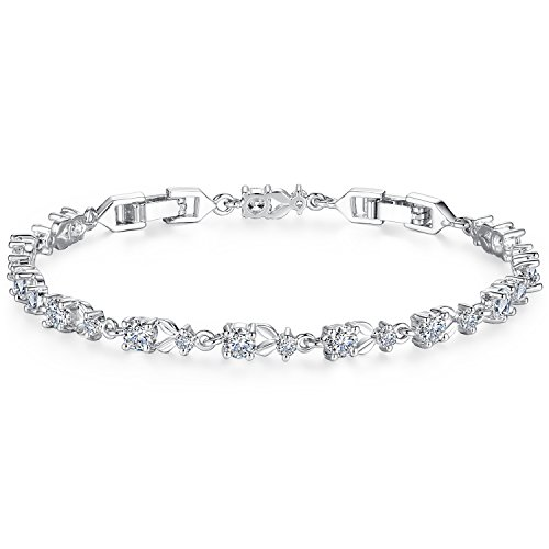 Bamoer White Gold Bracelets with Sparkling Clear Cubic Zirconia CZ Crystal Women Girls Charms Bangle