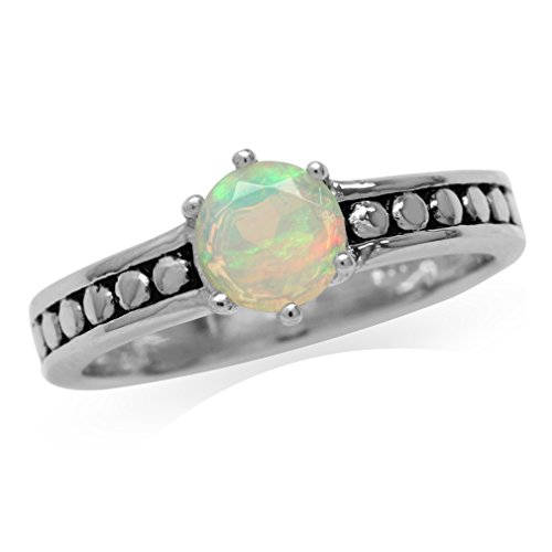 Genuine Opal 925 Sterling Silver Bali/Balinese Style Solitaire Ring Size 5 ()