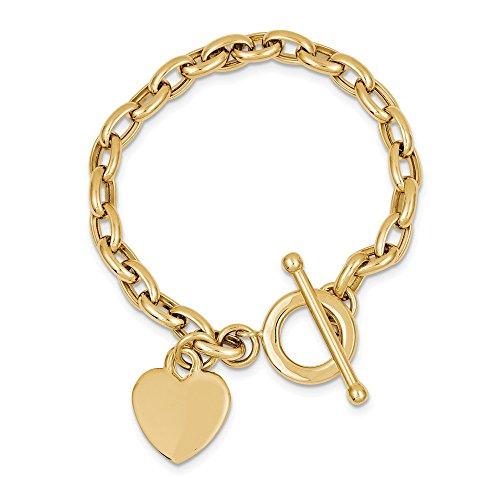 Charm Bracelet 14k Oval (Jewel Tie 14k Gold Heart Dangle Charm Bracelet with Lobster Clasp (5.9mm) - Yellow-Gold, 7.5 in)