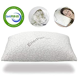 EnerPlex Luxury Never-Flat Queen Pillow, CertiPUR-US Certified Adjustable Loft Premium Memory Foam Bed Pillow Cooling Machine Washable Bamboo Cover 30x20 5-Year Warranty
