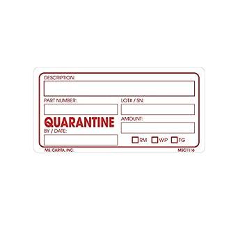 Quarantine Material Labels 2 Inch x 3 inch 500 per Roll