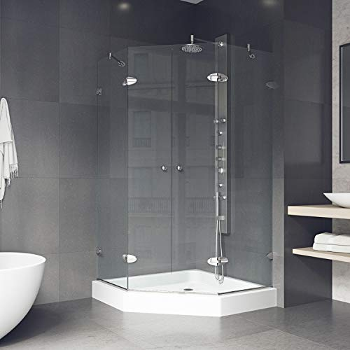 Neo Angle Shower Unit - VIGO Gemini 47.625 x 47.625-in. Frameless Neo-Angle Shower Enclosure with .375-in. Clear Glass and Brushed Nickel Hardware (Shower Base Included)
