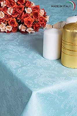 ESSE HOME – Línea Confestyl – Mantel con 8 servilletas (servicio de mesa) – Cuadrado – Fiandra Jacquard puro algodón – Fabricado en Italia – Producto artesanal – IRIS 598 (170x170, Servicio Verde): Amazon.es: Hogar