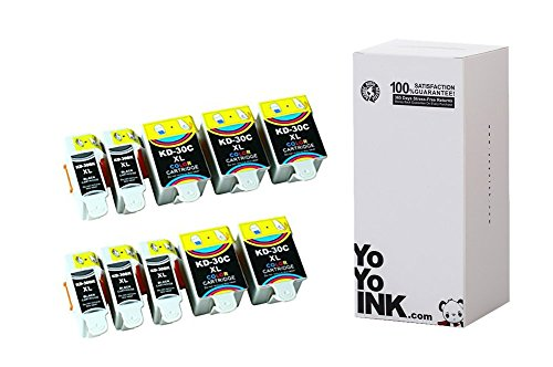 YoYoInk 10 Pack Compatible Ink Cartridges Replacement for Kodak 30XL Series (5 Black, 5 Color) with Ink Level Indicator (Kodak Color Chart compare prices)