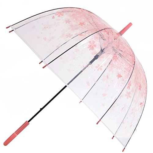 Artiron Cherry Blossoms Clear Umbrella Bubble Fashion Dome Auto Open Transparent Umbrella for Outdoor Weddings Windproof (Pink) by Artiron