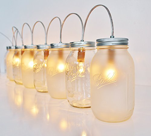 (Mason Jar Banner Light - Clear and Frosted Quarts - 8 Ball Brand Quart Size Table Top Lanterns, Bulbs Included)