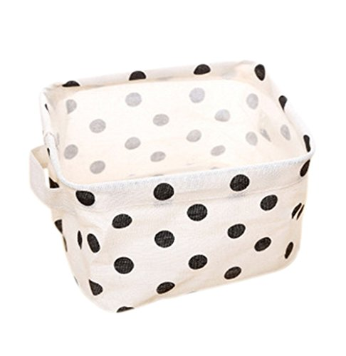Qinlee Collapsible Storage Bins Basket Organizers Small Foldable Storage Basket Decor Canvas Organizer with Handle for Nursery Babies Room Toys Makeup (Polkadot)