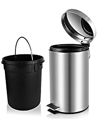 Fortune Candy Anti Fingerprint Brushed Stainless Steel Trash Can With Soft  Close Lid,Removable