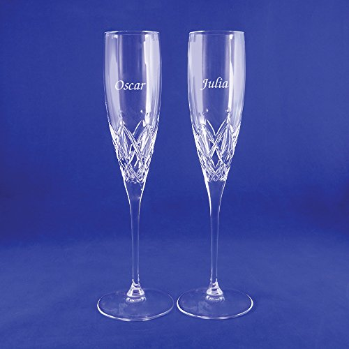 Custom Lenox Venetian Lace Signature Champagne Flute Pair, Set of 2 Flutes, Personalized Venetian Lace Toasting Flutes, Personalized Wedding Flutes, Monogrammed Flutes, Crystal Champagne Flutes by The Crystal Shoppe (Image #3)