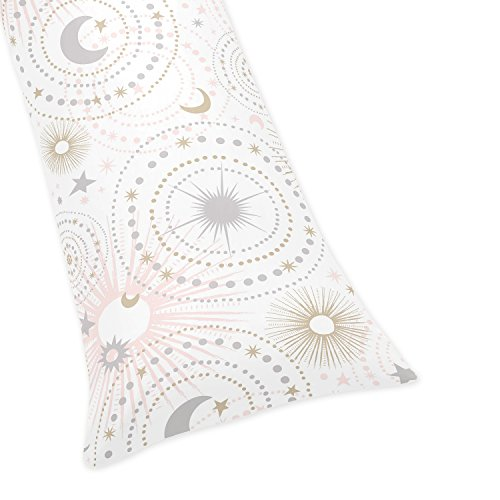 Sweet Jojo Designs Blush Pink, Gold, Grey and White Star and Moon Body Pillow Case Cover for Celestial Collection (Pillow Not Included)