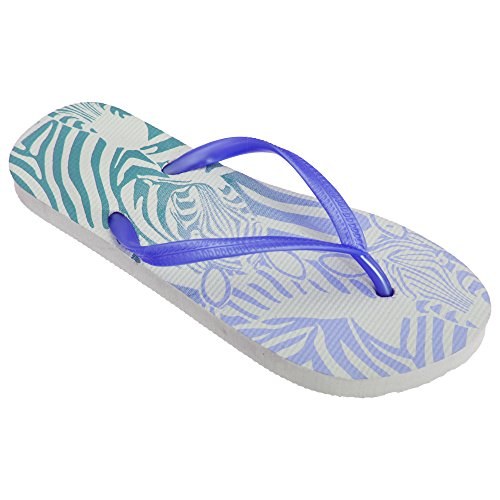 Pattern Flops Flip Post Floso Zebra Womens Toe White Ladies Blue xZWqWHTwA