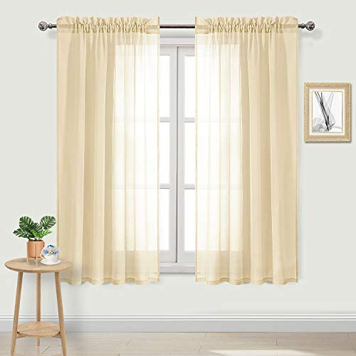 (DWCN Sheer Curtains Beige Rod Pocket Window Curtain Voile Sheer Living Room Curtains Set of 2 Panels 52 x 72 inches Long,)