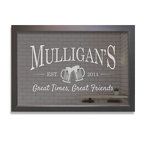 "Lifetime Creations Personalized Bar Mirror - Beer Mugs, Custom Bar Mirror Engraved (24"" x 36"", Black Frame)"