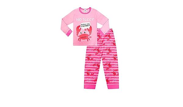 Lindo Pijama de algodón con Texto en inglés No Sleep Makes me Crabby Girls